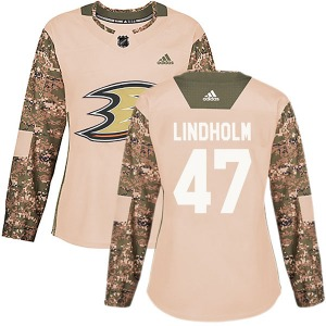 Women's Authentic Anaheim Ducks Hampus Lindholm Camo Veterans Day Practice Official Adidas Jersey