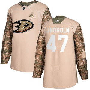 Adult Authentic Anaheim Ducks Hampus Lindholm Camo Veterans Day Practice Official Adidas Jersey